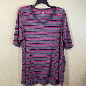 Top Blouse Active 22/24 Gray Black Pink Stripes
